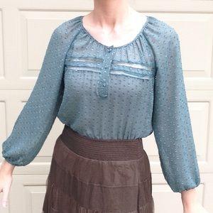 SABINE dotted sheer teal float blouse M (J5)